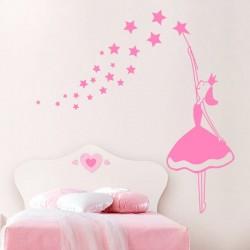 Sticker enfant fée et étoiles