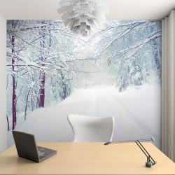 Papier peint forêt avec neige