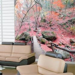 Adhésif mural forêt rouge