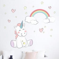 Sticker licorne et arc-en-ciel