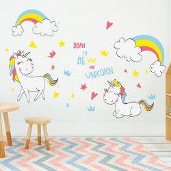 Sticker mural licornes 2