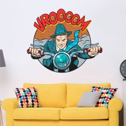 Sticker pop art motard
