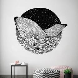 Sticker mural cercle baleine