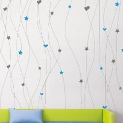 Sticker mural chaîne de coeurs