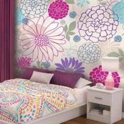 Papier peint fleurs colorées 4