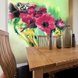 Papier peint fleurs avec...