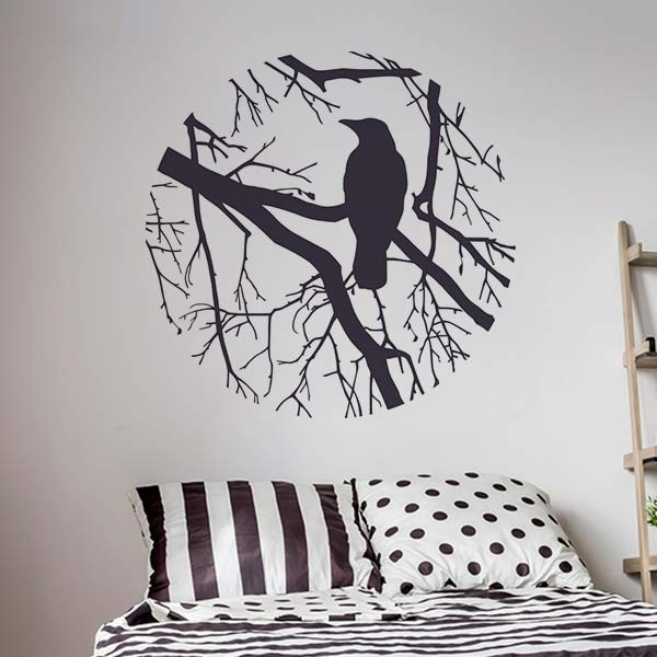 Sticker arbre avec oiseau