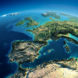 Adhésif mural monde en satellite