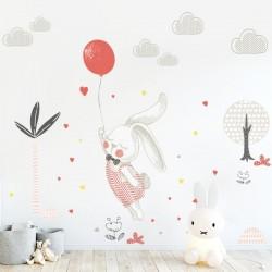 Sticker lapin avec ballon