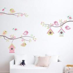 Sticker mural oiseaux bébé