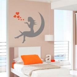 Adhésif mural fille et lune