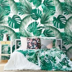 Papier peint fleurs tropicales