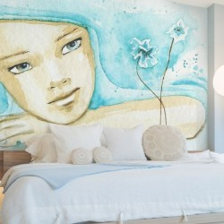 Adhésif mural fille aquarelle