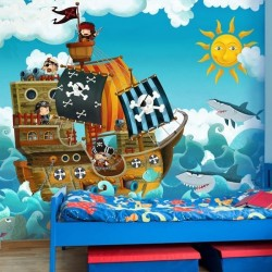 pirates papier peint vinyle. Black Bedroom Furniture Sets. Home Design Ideas