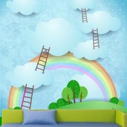 Papier peint escalier nuages