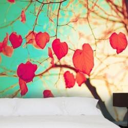 Papier peint feuilles coeurs