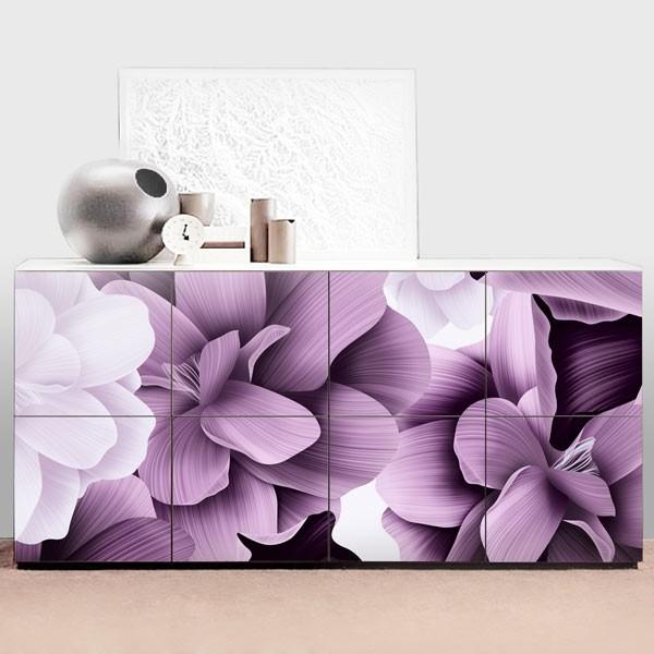 Sticker pour commode fleurs abstraites 1