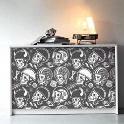 Adhésif crânes avec casques