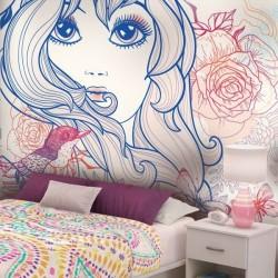 Adhésif mural fille avec...