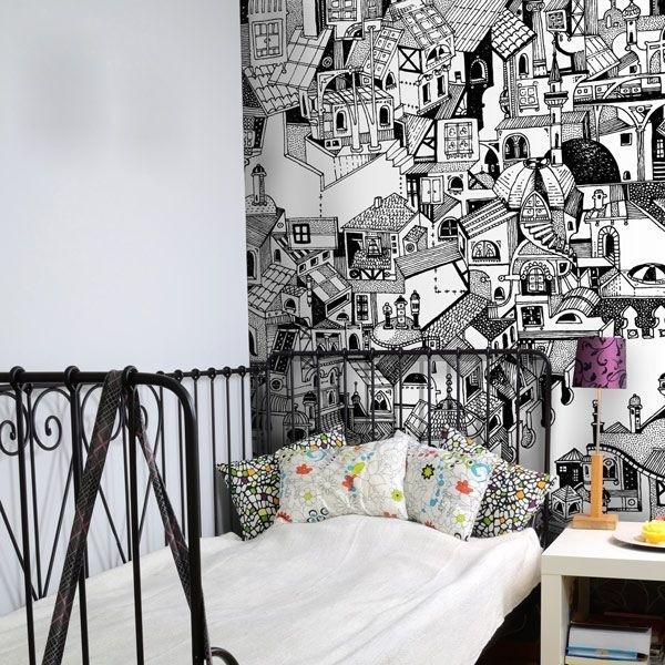 dessin de maisons papier peint vinyle. Black Bedroom Furniture Sets. Home Design Ideas