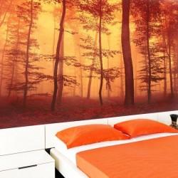 Papier peint forêt rouge