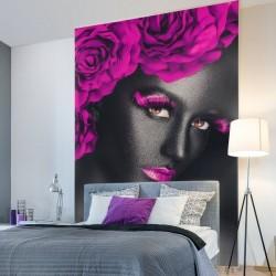 Déco murale femme avec fleurs