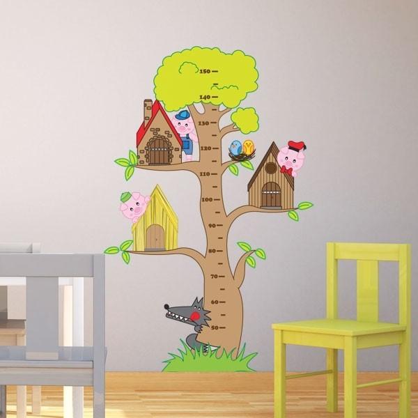 Sticker arbre 3 petits cochons