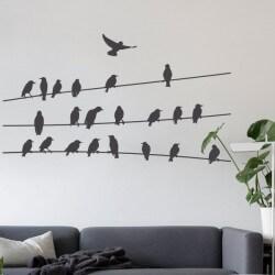 Sticker oiseaux sur câbles