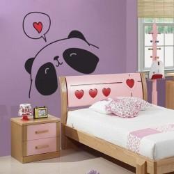 Sticker enfant panda amoureux