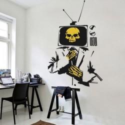 Sticker mural homme TV