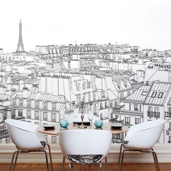 Dessin De Paris Papier Peint Vinyle