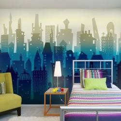 Déco murale ville bleue