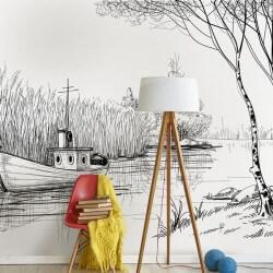 Adhésif mural paix au lac
