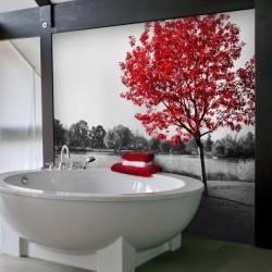 Adhésif mural arbre rouge