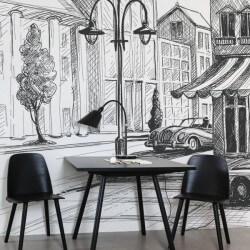 Papier peint dessin au crayon