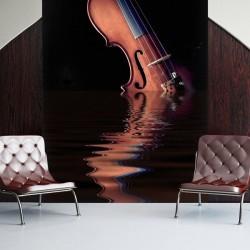Adhésif mural violon sur l'eau