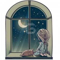 Sticker fille dans la fenêtre