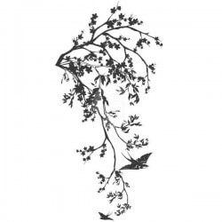 Autocollant branche avec oiseau