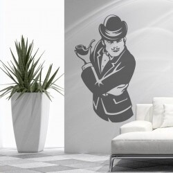 Sticker mural pipe d'homme