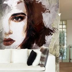 Adhésif mural visage aquarelle