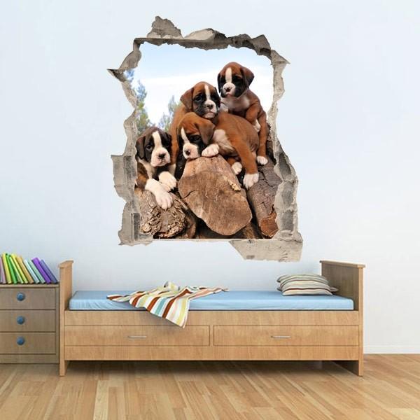 Sticker illusion d'optique chiens