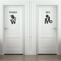 Adhésif déco silhouettes de wc 1