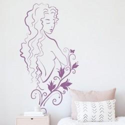 Adhésif mural femme fleur
