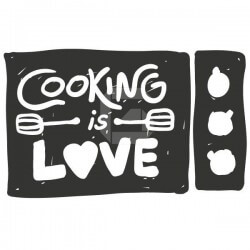 Sticker phrases cooking is love
