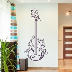 Sticker mural guitare floral