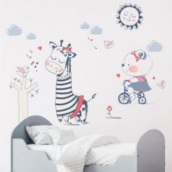 Sticker enfant animaux heureux