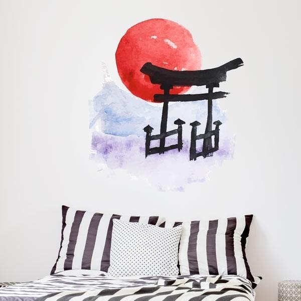 Sticker mural aquarelle orientale
