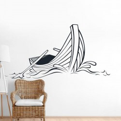 Sticker mural bateau à la mer