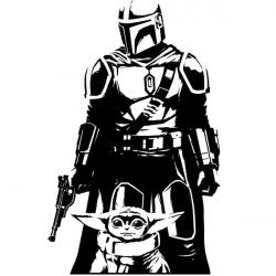 Sticker Star Wars Mandalorian et Yoda
