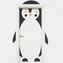 Sticker porte enfant pingouin